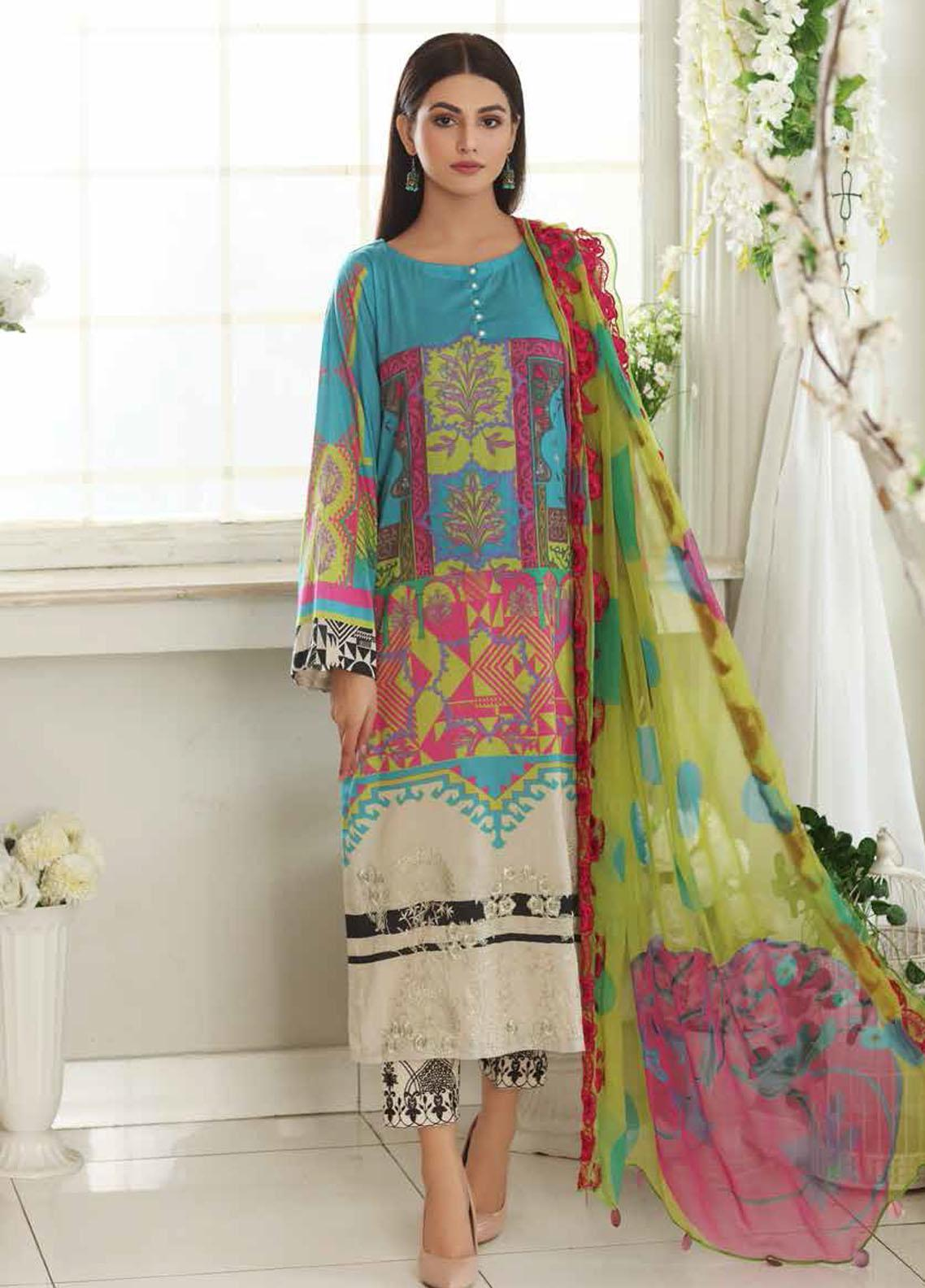 Aniq by Charizma Embroidered Lawn Suits Unstitched 3 Piece CRZ21A 12 - Summer Collection
