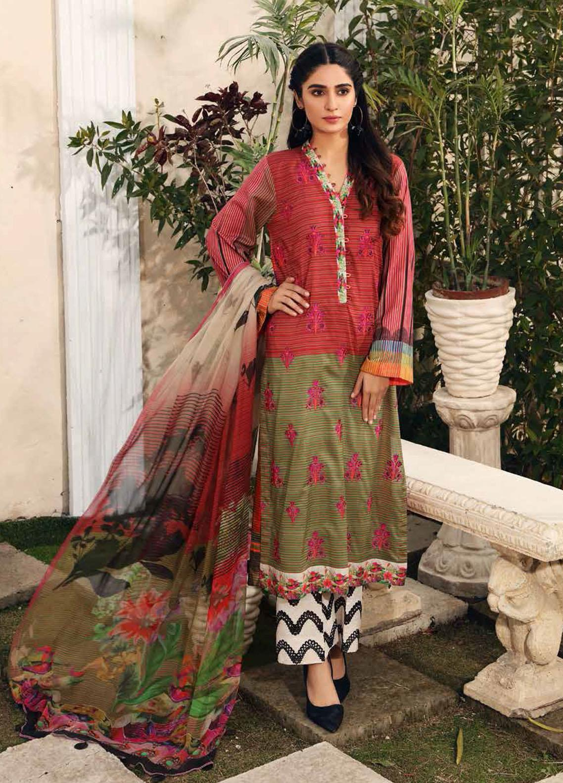 Aniq by Charizma Embroidered Lawn Suits Unstitched 3 Piece CRZ21A 13 - Summer Collection