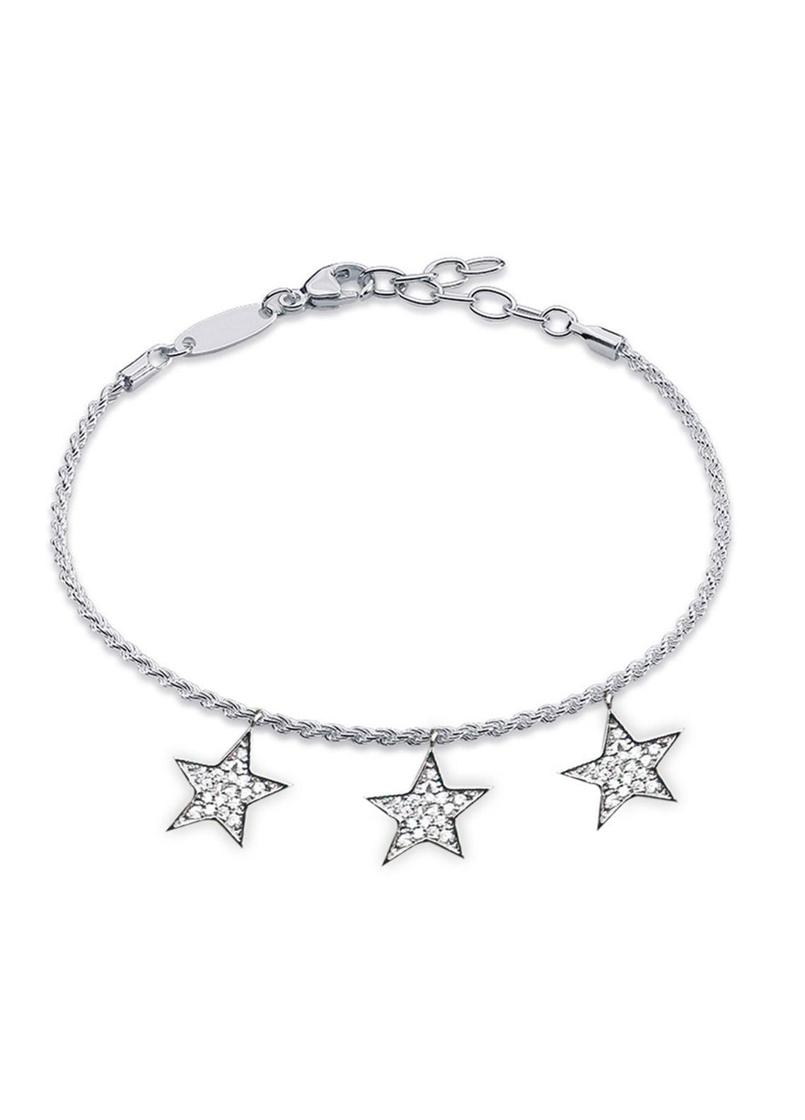 Anna Grace London Silver Crystal Stars Bracelet AGB0067 - Ladies Jewellery
