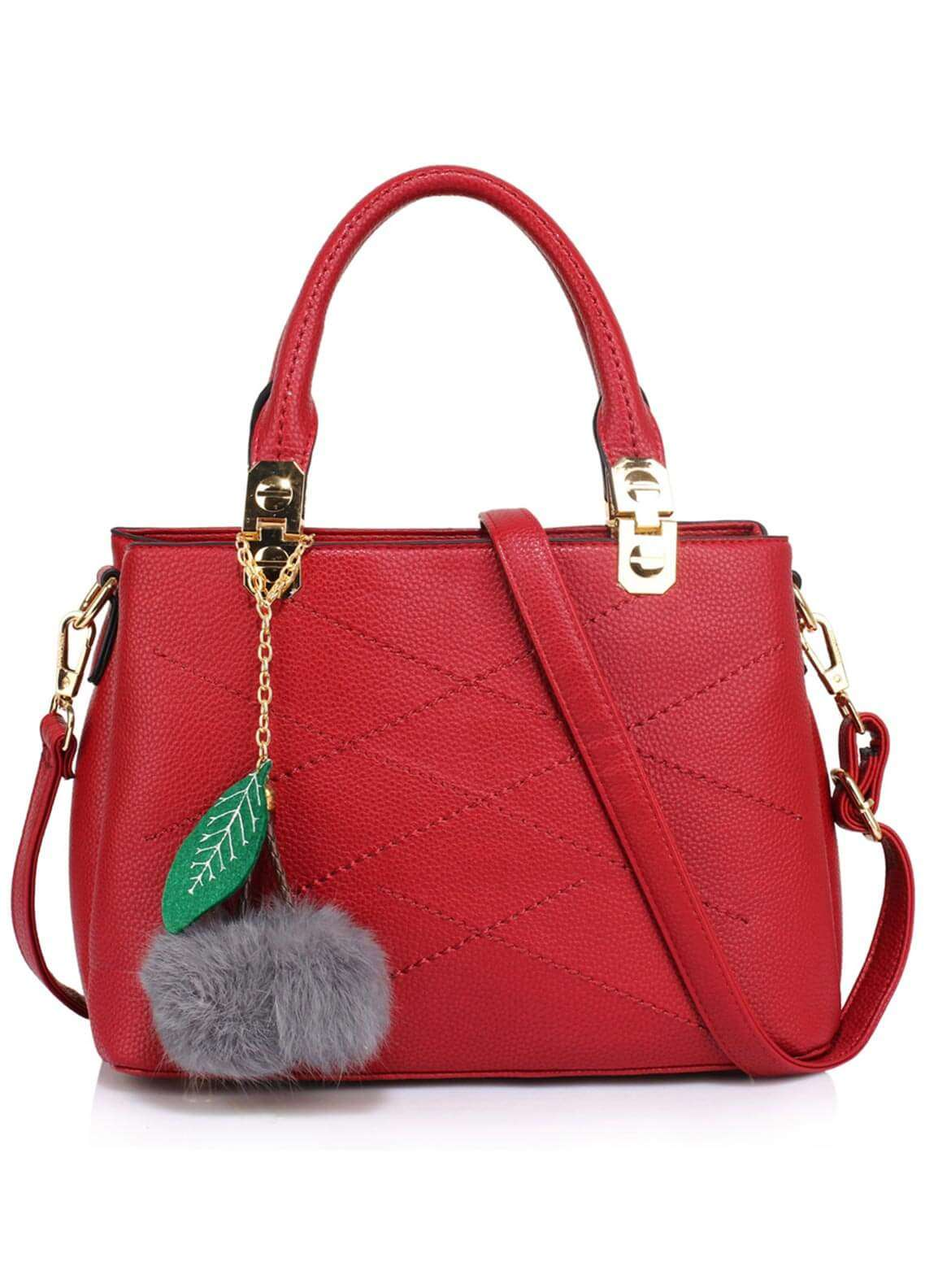 Anna Grace London Faux Leather Shoulder  Bags for Woman - Burgundy