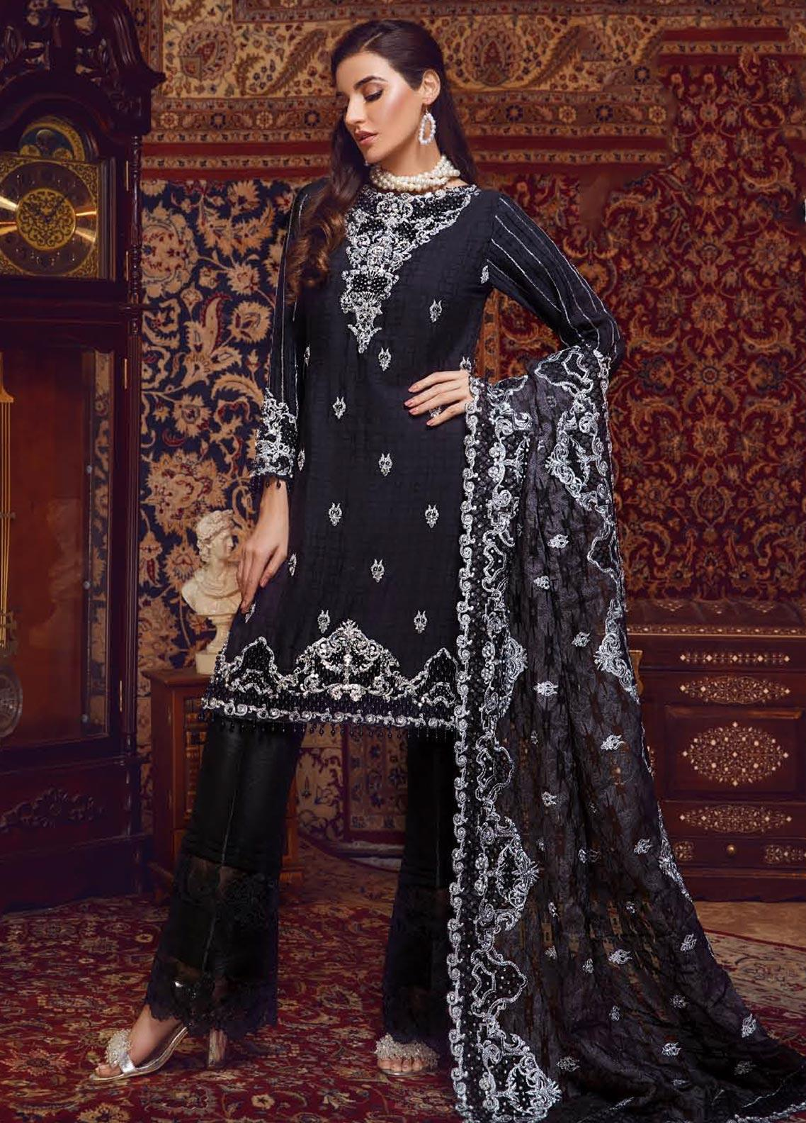Areej By A-Meenah Embroidered Cotton Unstitched 3 Piece Suit AME19C 01 Taabis - Luxury Collection