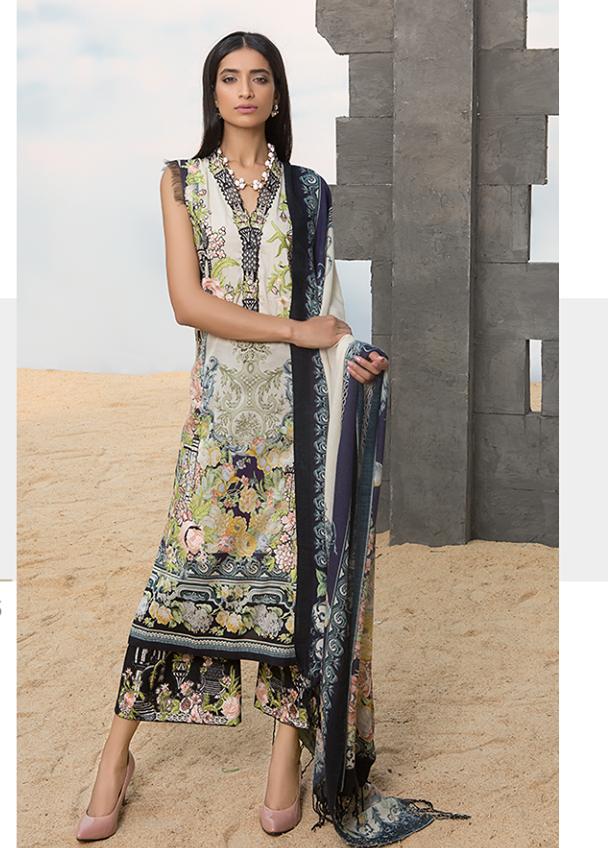 Sapphire Embroidered Linen Unstitched 3 Piece Suit SP17W Asiatic Sublime A