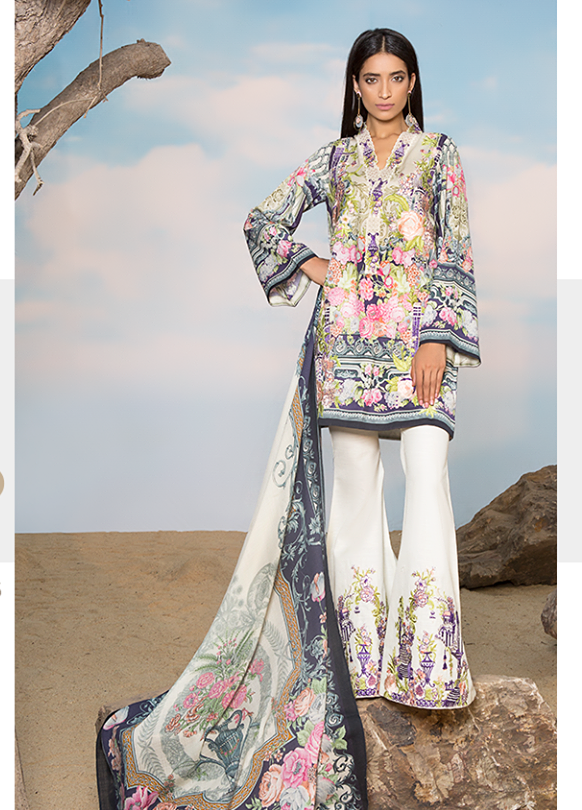 Sapphire Embroidered Linen Unstitched 3 Piece Suit SP17W Asiatic Sublime B