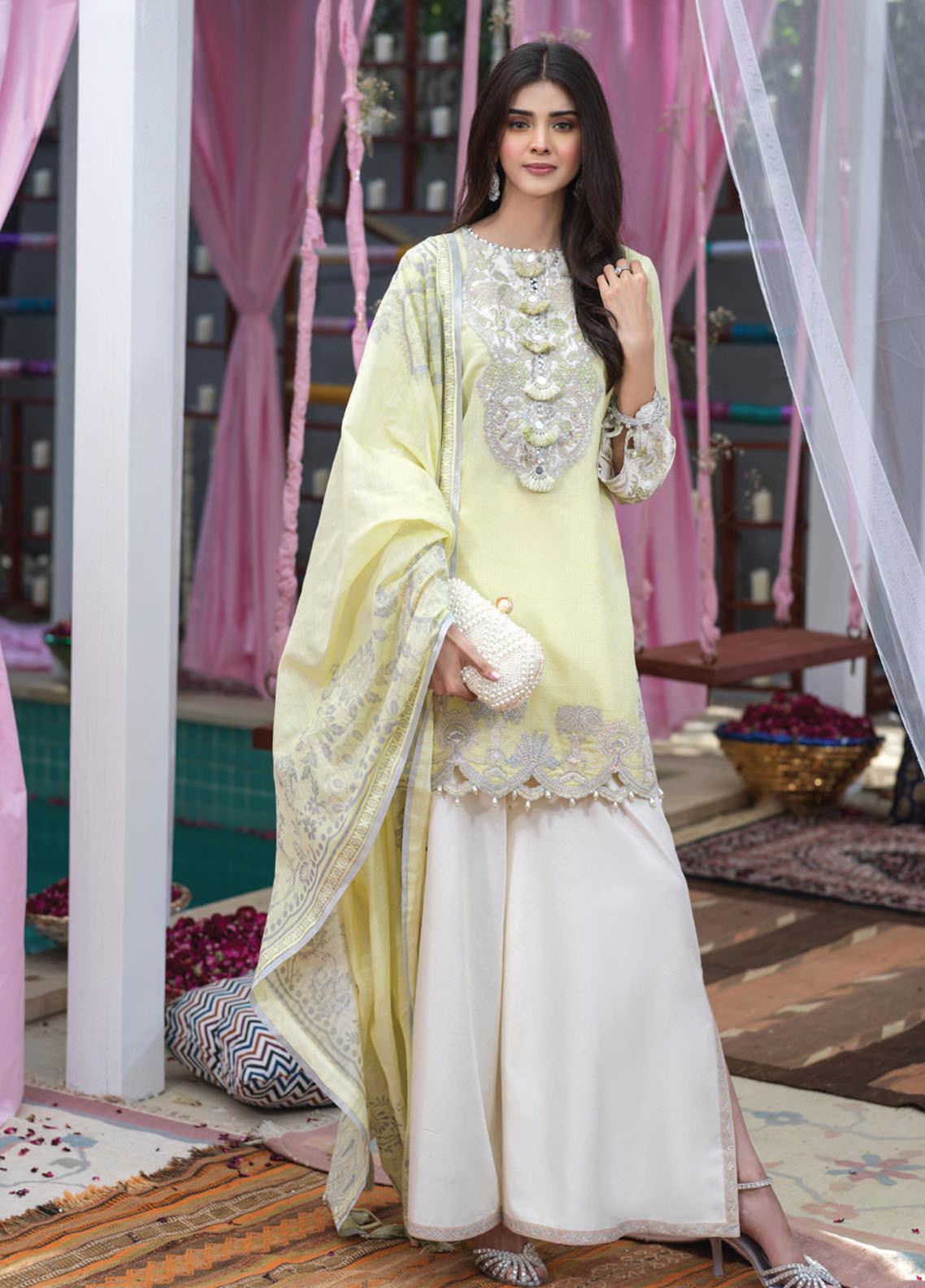 Asim Jofa Embroidered Cotton Net Suits Unstitched 3 Piece AJ21E 06 - Festive Collection