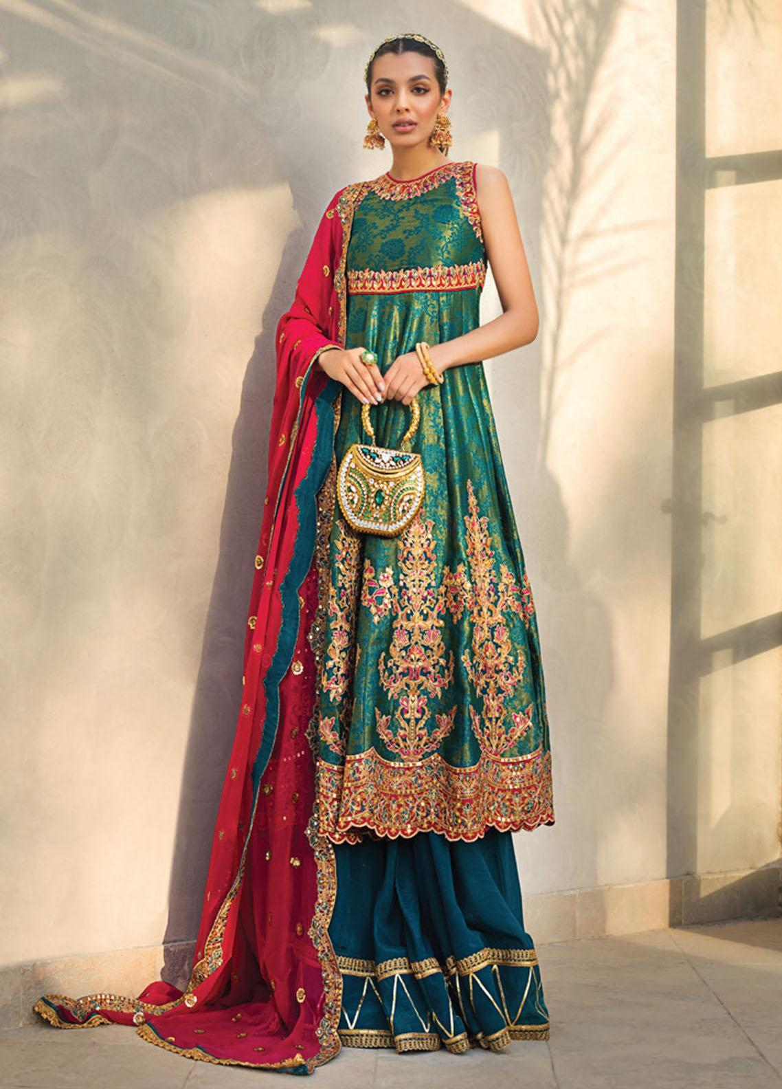 Asim Jofa Embroidered Cotton Net Suits Unstitched 3 Piece AJ21LE 03 - Luxury Collection