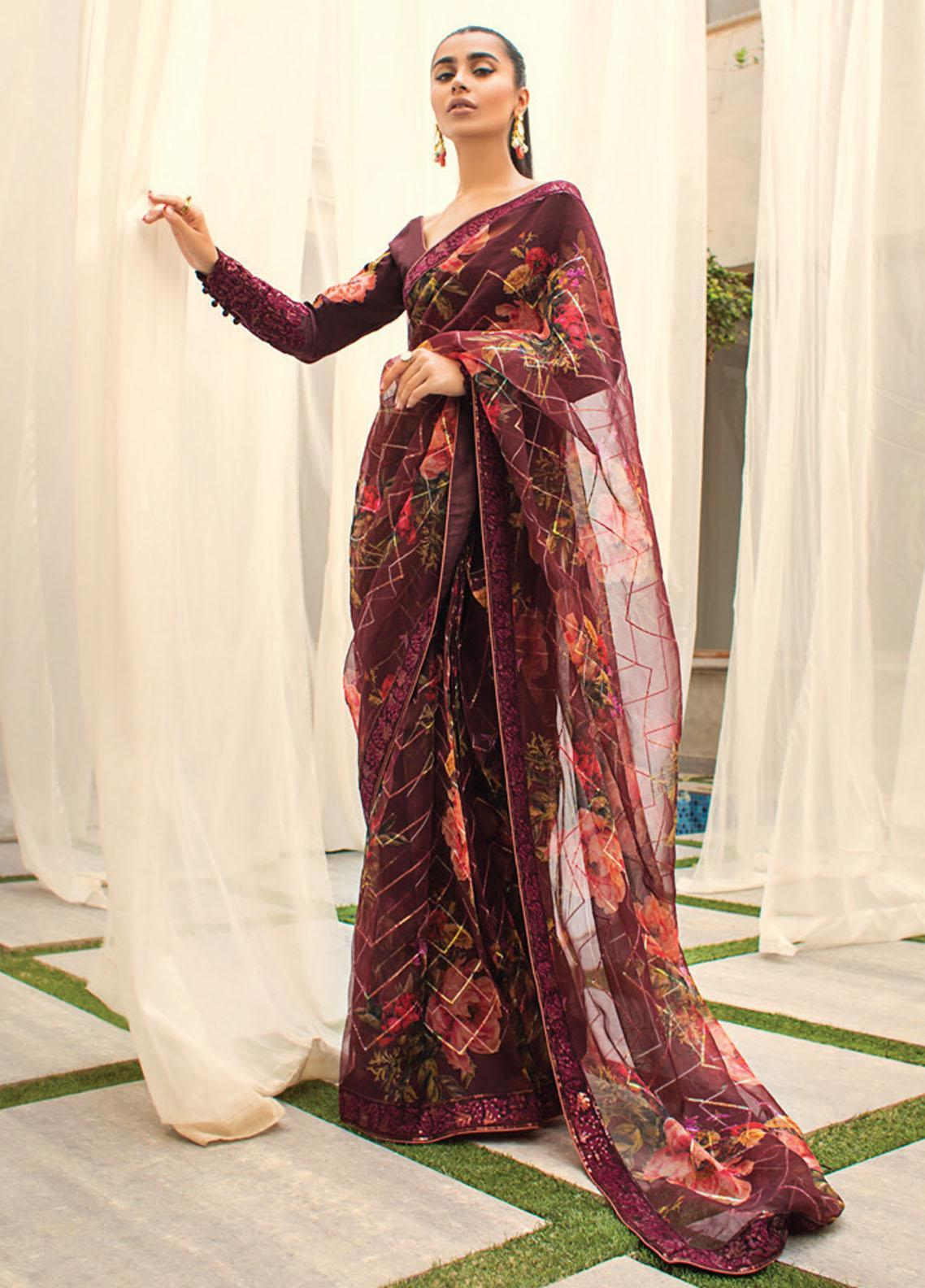 Asim Jofa Embroidered Organza  Unstitched Saree AJ21LE 07 - Luxury Collection