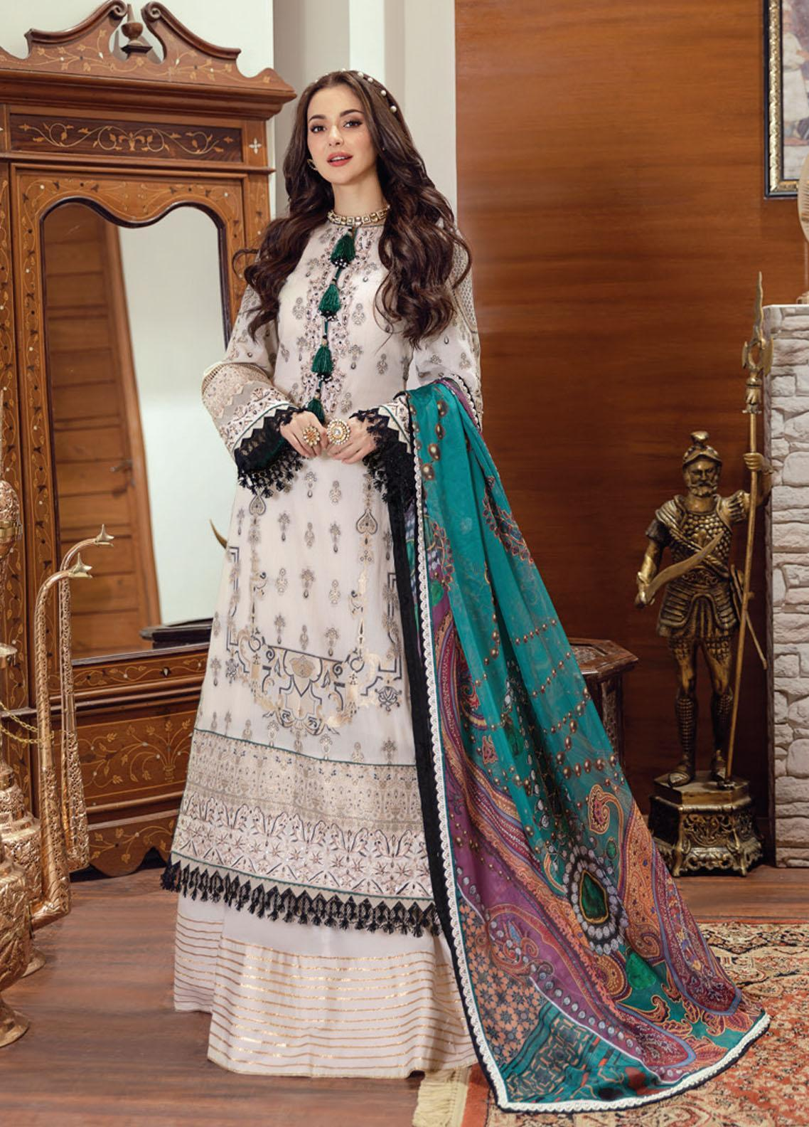 Rabt By Asim Jofa Embroidered Lawn Suits Unstitched 3 Piece AJ21RL 15 - Luxury Collection
