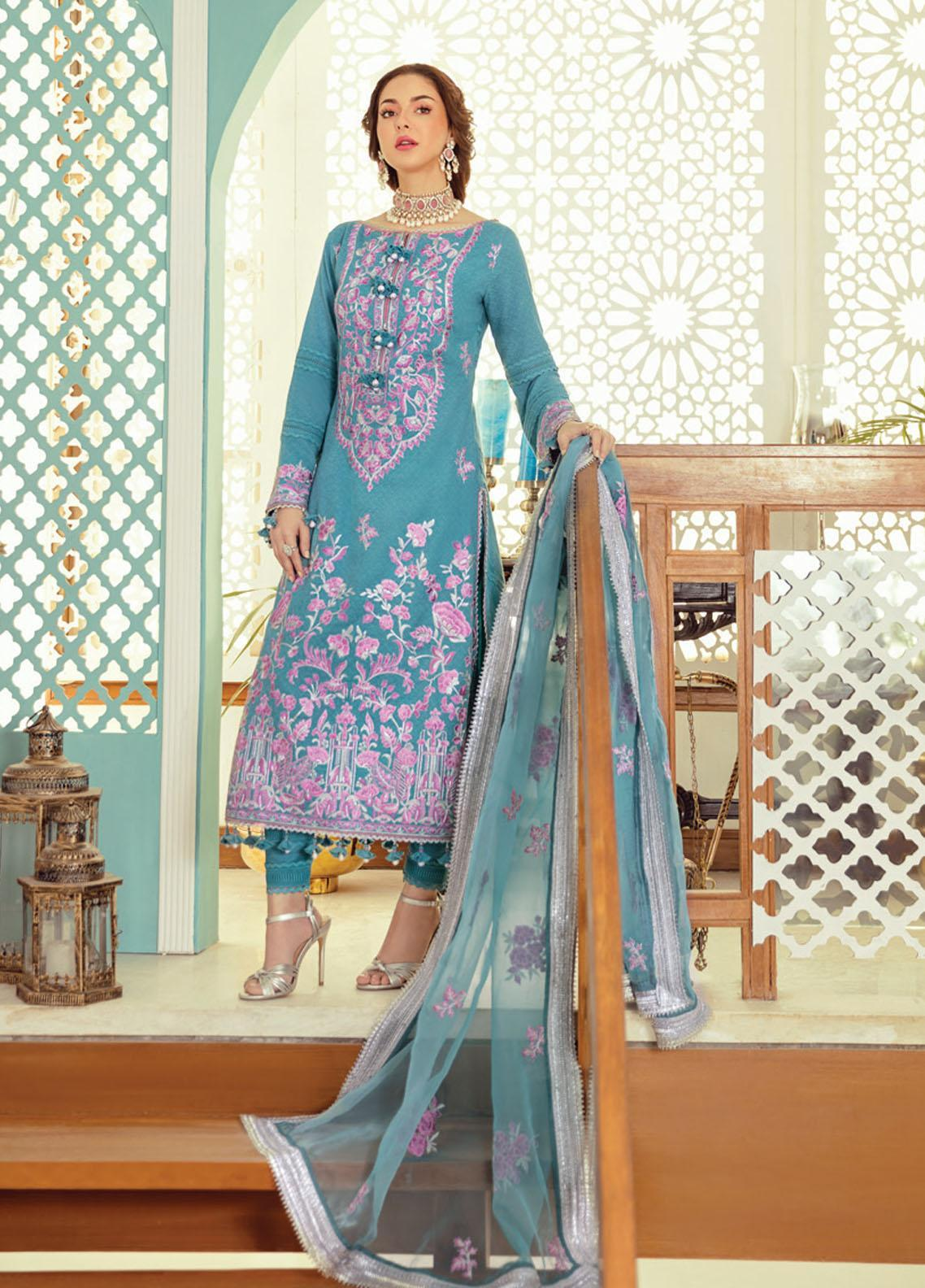 Rabt By Asim Jofa Embroidered Lawn Suits Unstitched 3 Piece AJ21RL 16 - Luxury Collection