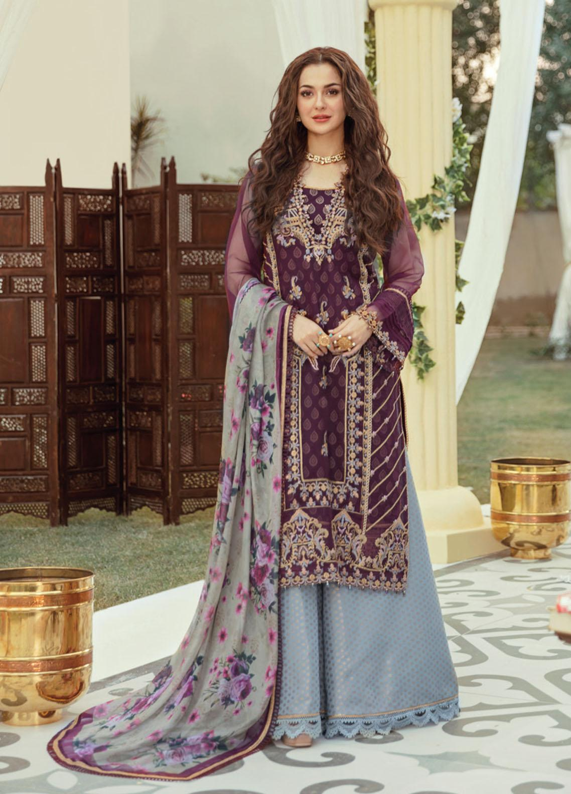 Rabt By Asim Jofa Embroidered Organza Suits Unstitched 3 Piece AJ21RL 19 - Luxury Collection