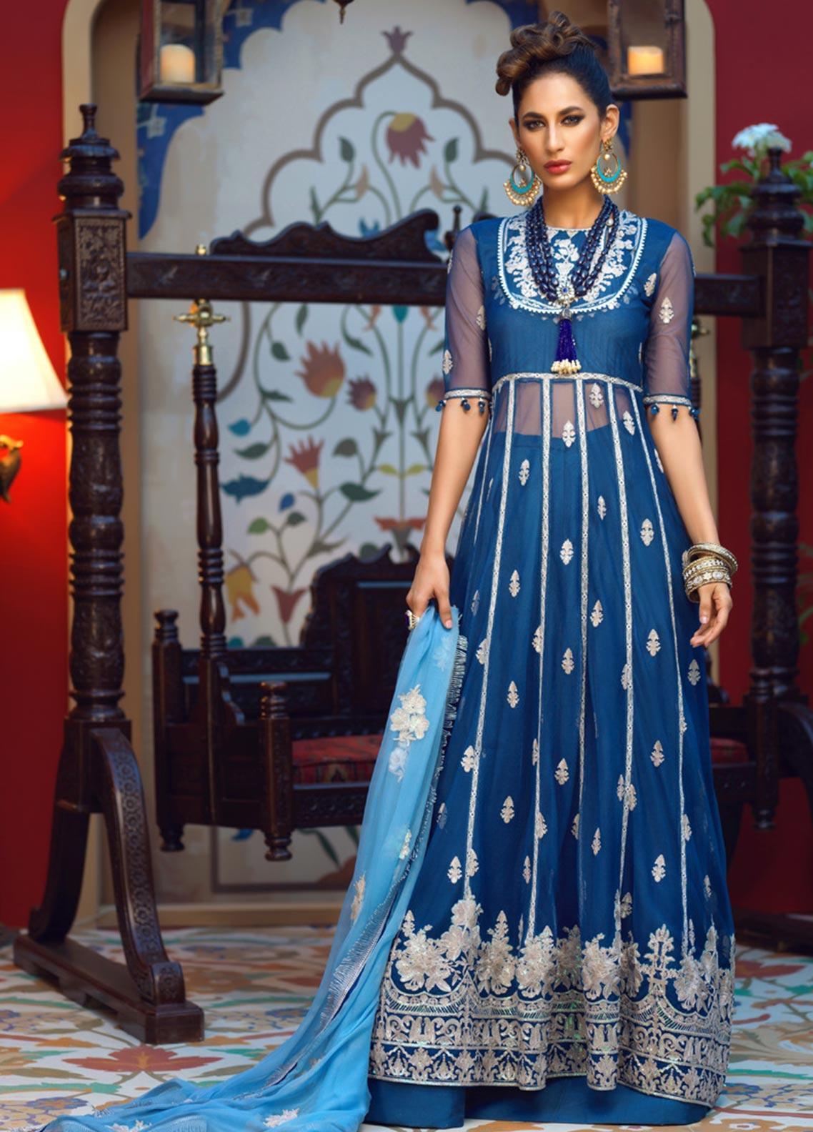 Asim Jofa Embroidered Net Unstitched 3 Piece Suit AJ19C 06 - Wedding Collection