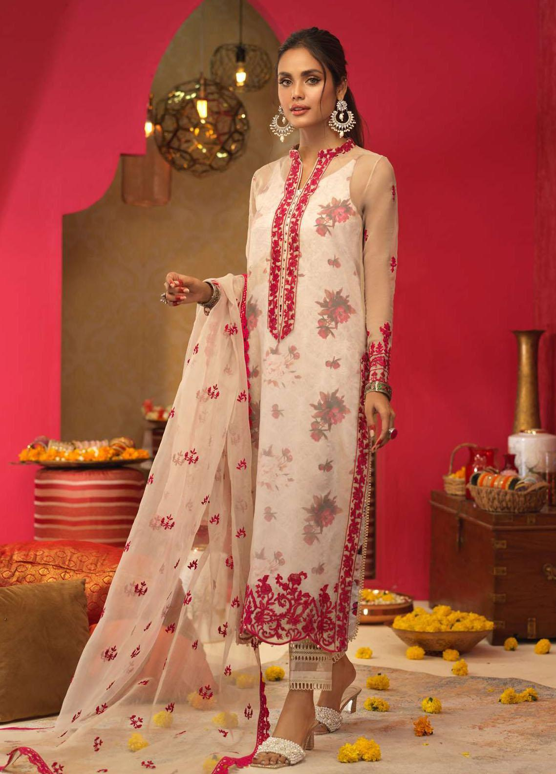 Asim Jofa Embroidered Organza Suits Unstitched 3 Piece AJ21RF AJFC-23 - Festive Collection