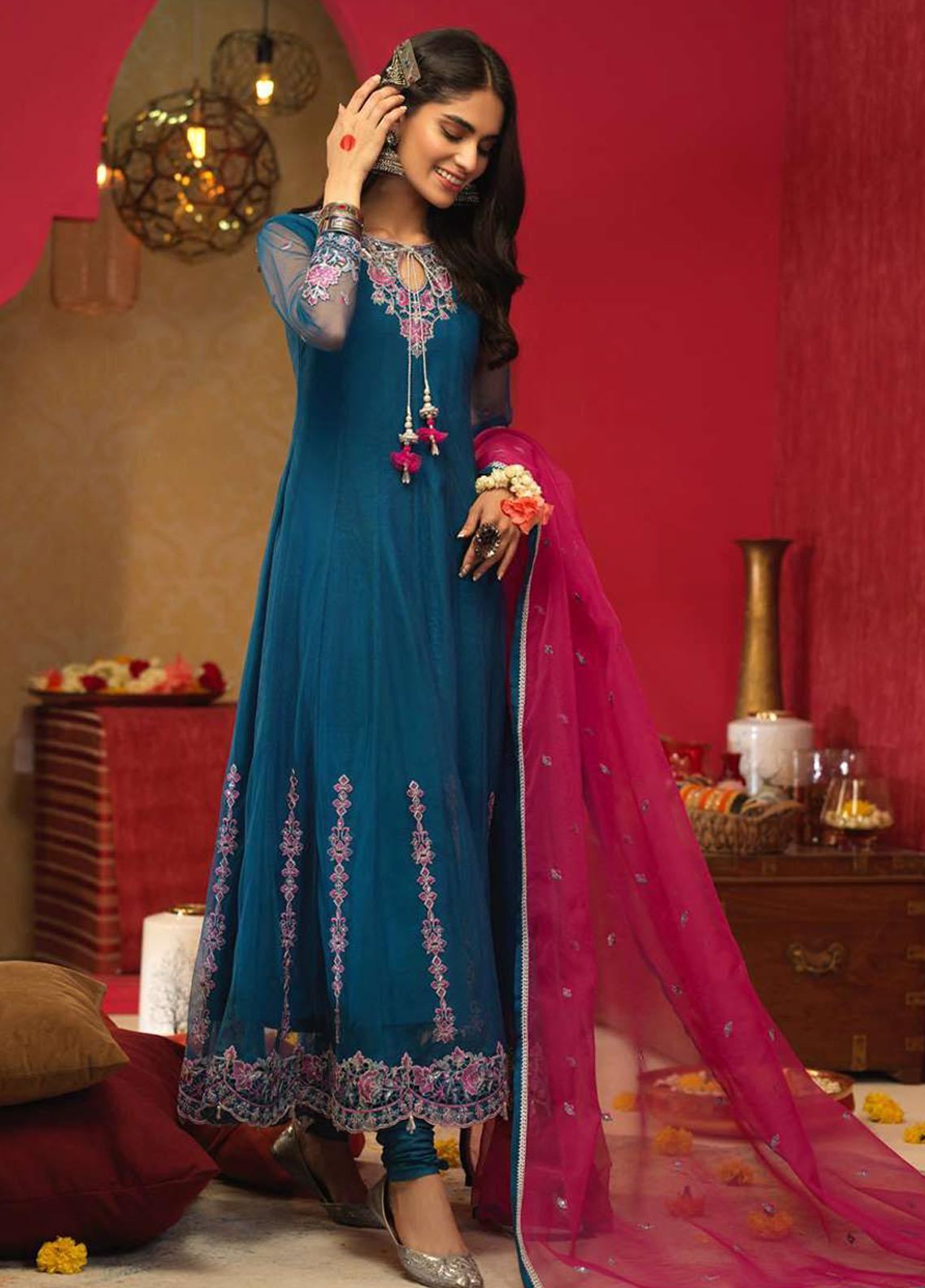 Asim Jofa Embroidered Net Suits Unstitched 3 Piece AJ21RF AJFC-25 - Festive Collection