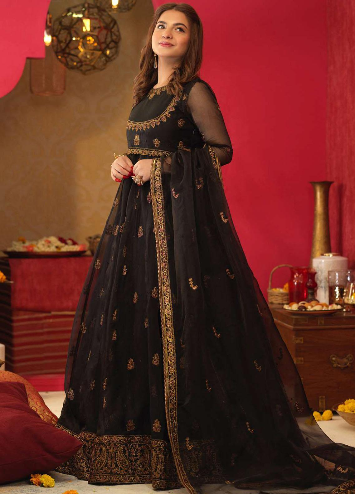Asim Jofa Embroidered Organza Suits Unstitched 3 Piece AJ21RF AJFC-27 - Festive Collection