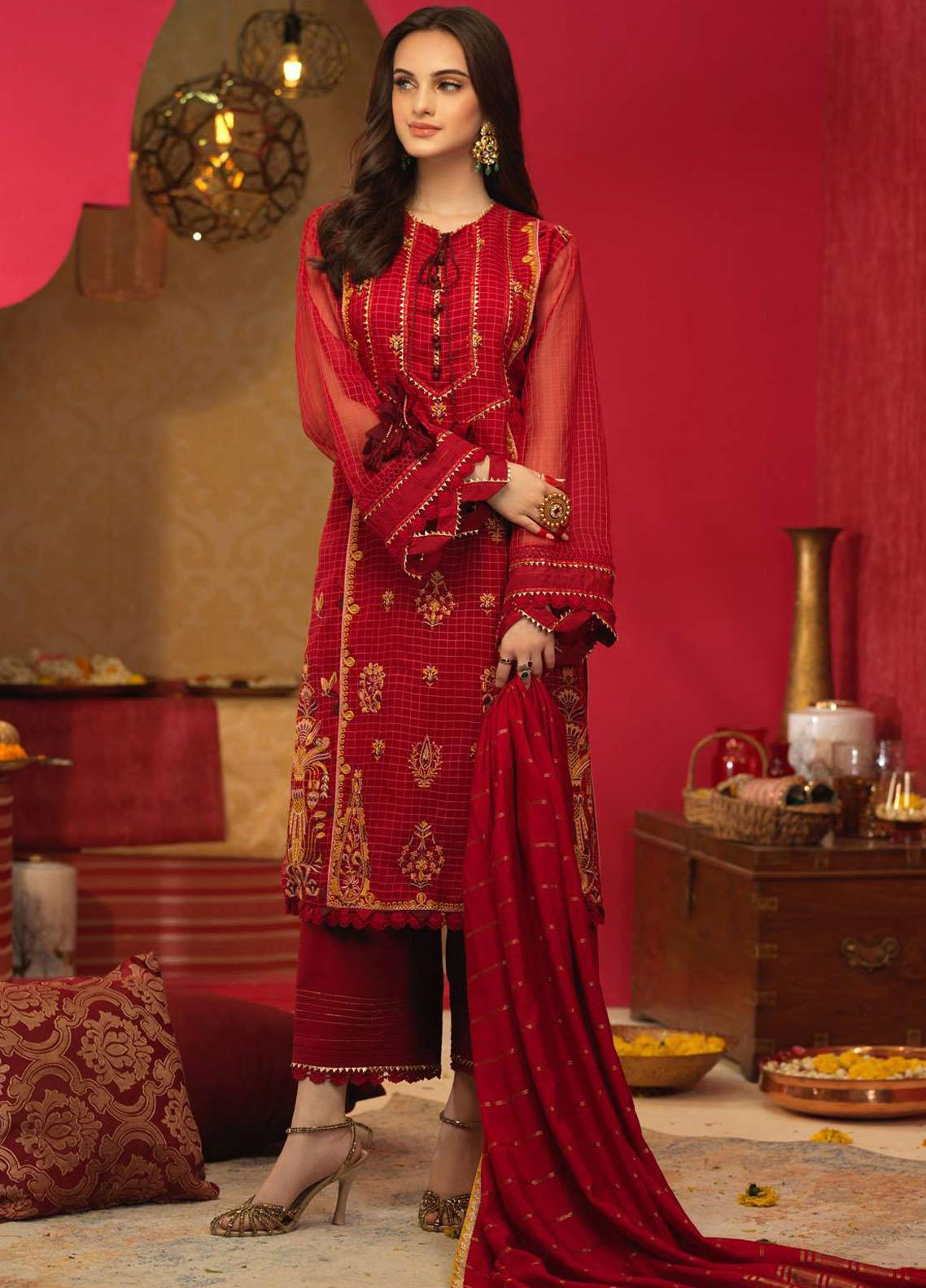 Asim Jofa Embroidered Organza Suits Unstitched 3 Piece AJ21RF AJFC-29 - Festive Collection