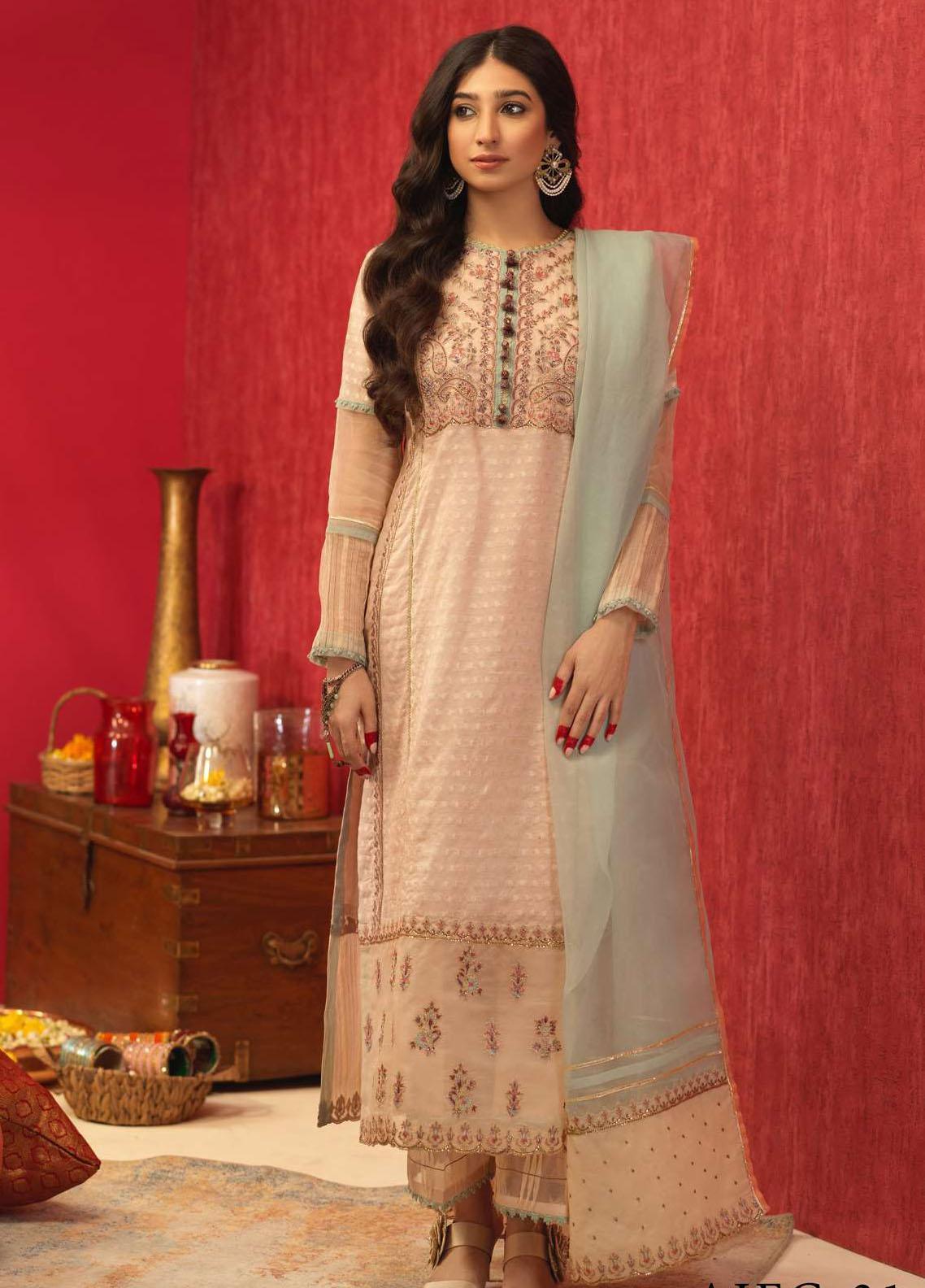 Asim Jofa Embroidered Cotton Suits Unstitched 3 Piece AJ21RF AJFC-31 - Festive Collection