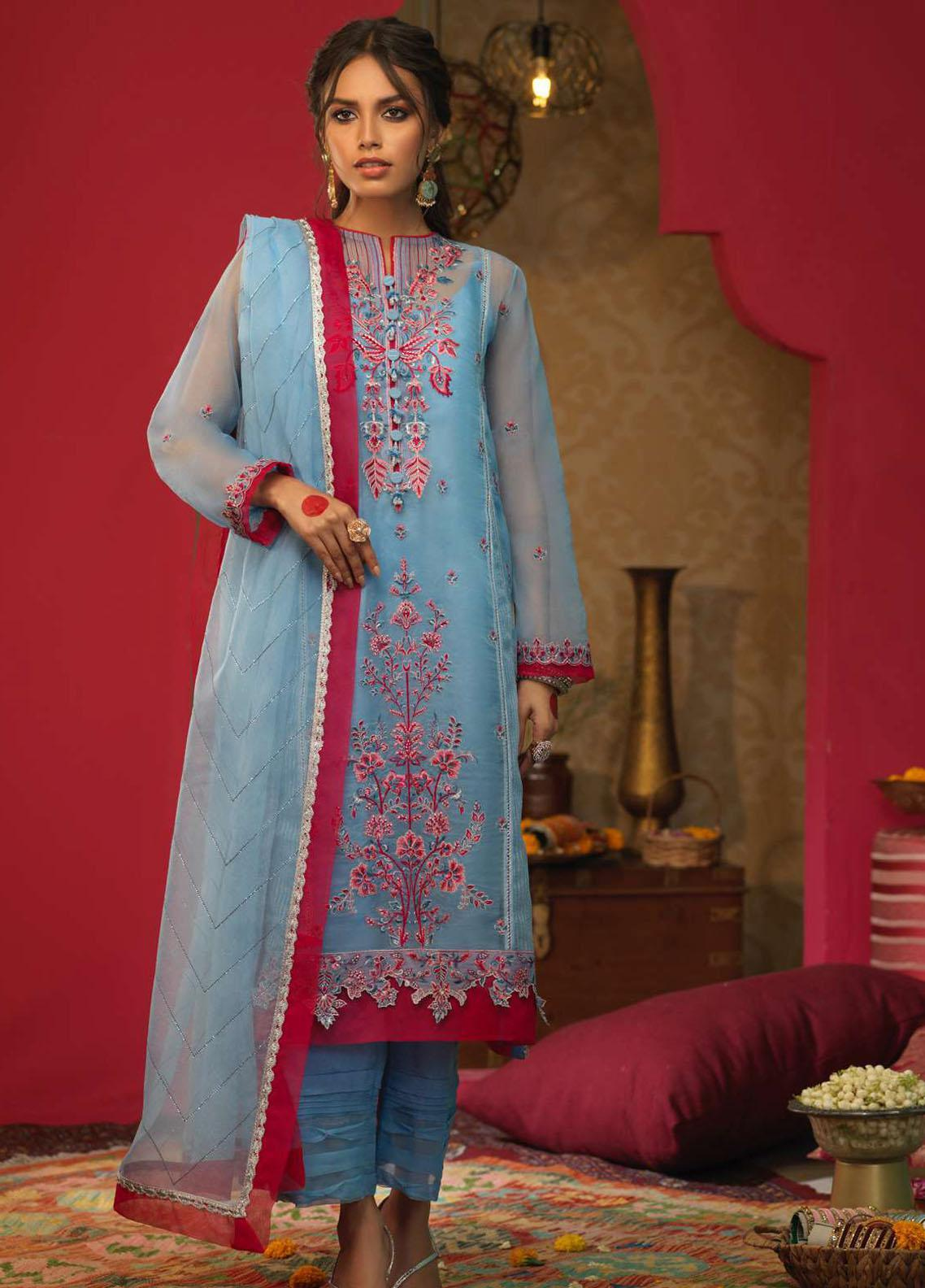 Asim Jofa Embroidered Net Suits Unstitched 3 Piece AJ21RF AJFC-32 - Festive Collection
