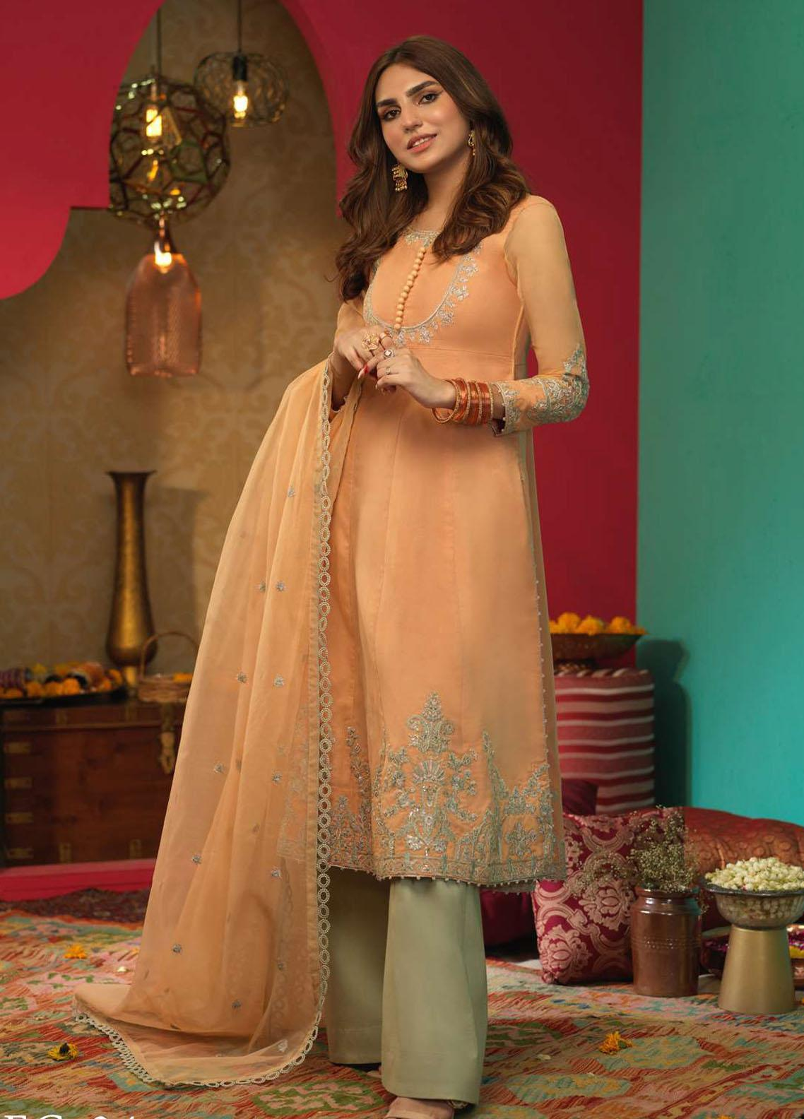 Asim Jofa Embroidered Organza Suits Unstitched 3 Piece AJ21RF AJFC-34 - Festive Collection
