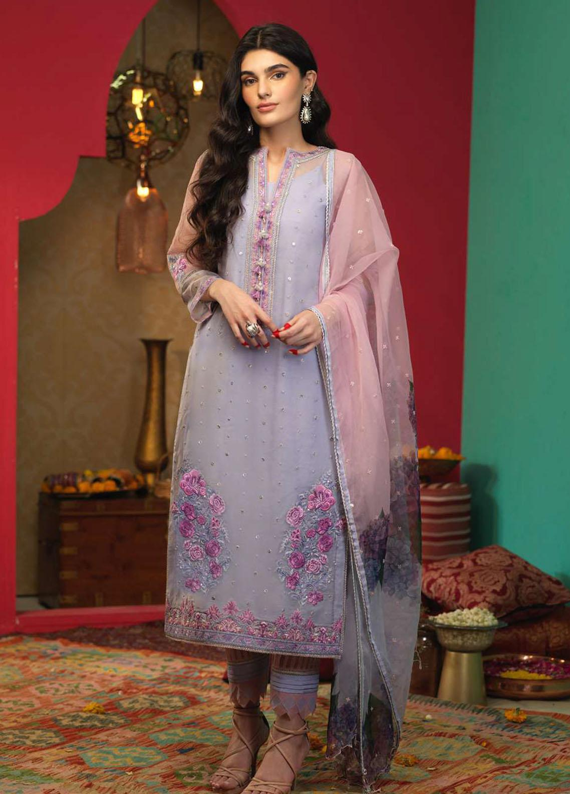 Asim Jofa Embroidered Organza Suits Unstitched 3 Piece AJ21RF AJFC-35 - Festive Collection