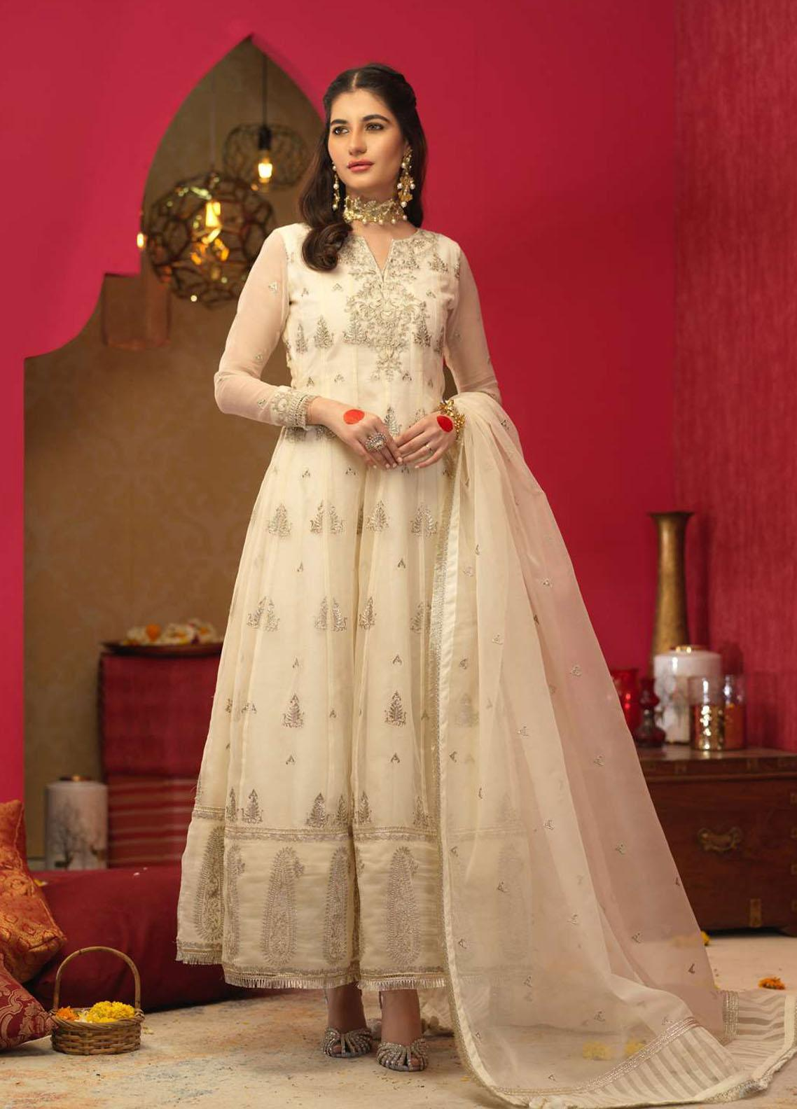 Asim Jofa Embroidered Organza Suits Unstitched 3 Piece AJ21RF AJFC-36 - Festive Collection