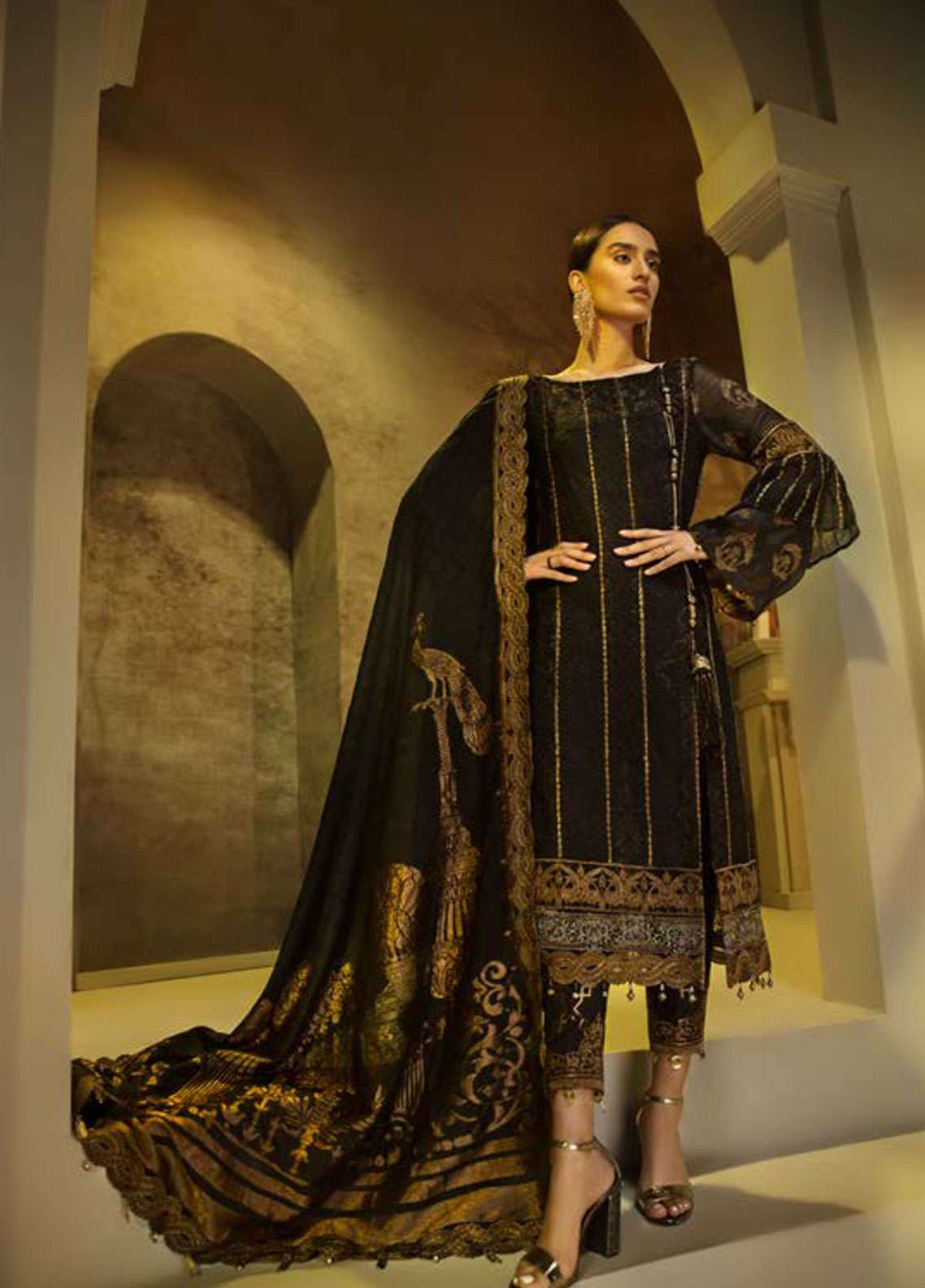 AUJ Embroidered Cotton Net Unstitched 3 Piece Suit AUJ18C 01 - Luxury Collection