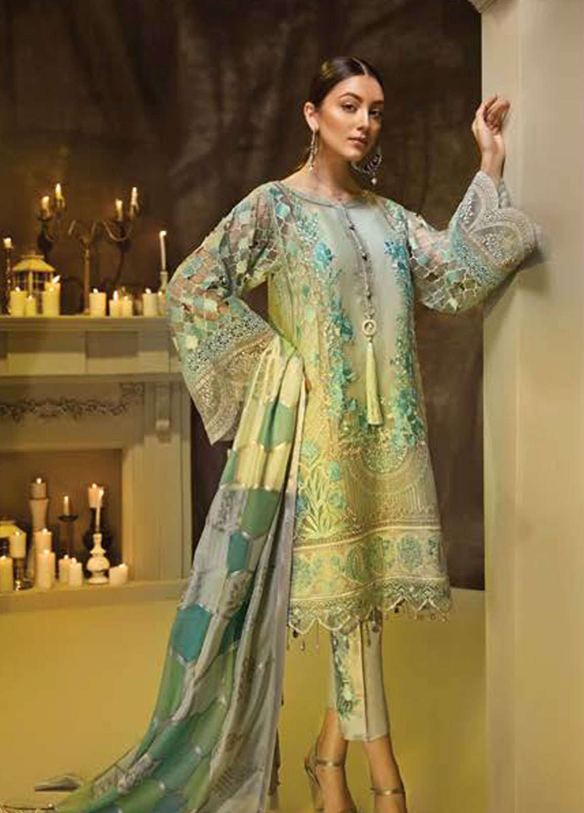 AUJ Embroidered Chiffon Unstitched 3 Piece Suit AUJ18C 07 - Luxury Collection