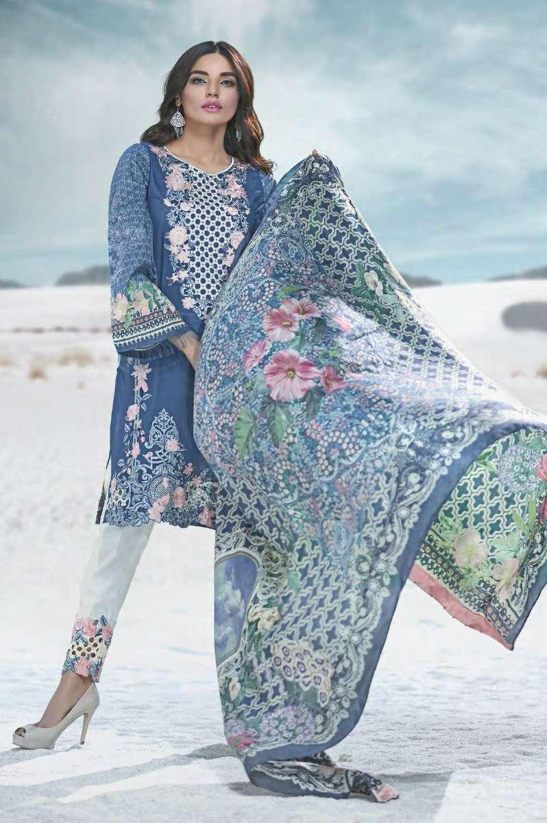 AUJ Embroidered Lawn Unstitched 3 Piece Suit AUJ17L 02