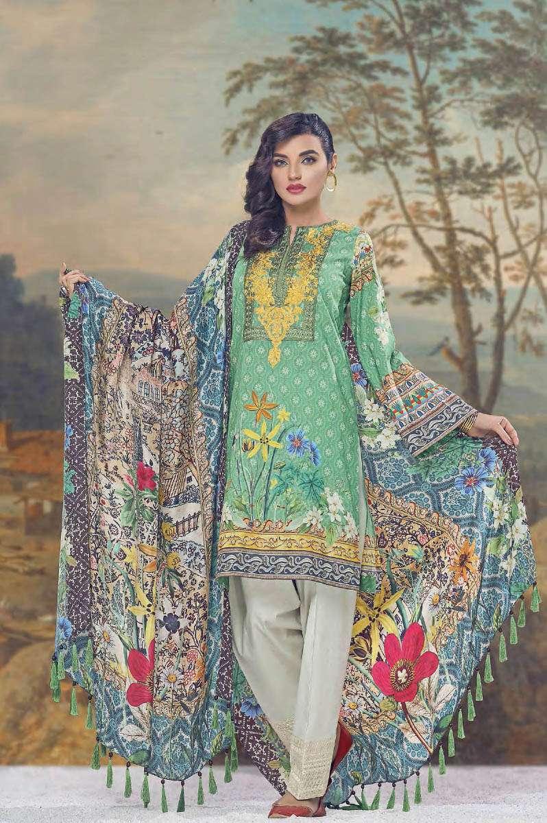 AUJ Embroidered Lawn Unstitched 3 Piece Suit AUJ17L 10