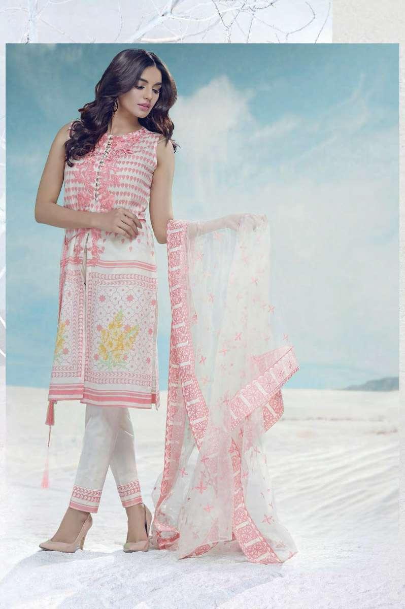 AUJ Embroidered Lawn Unstitched 3 Piece Suit AUJ17L 13B