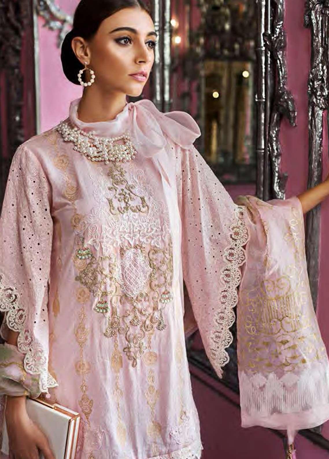 AUJ Embroidered Jacquard Unstitched 3 Piece Suit AUJ18F 06 - Eid Collection
