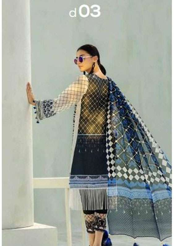AUJ Embroidered Lawn Unstitched 3 Piece Suit AUJ18L 03 - Spring / Summer Collection