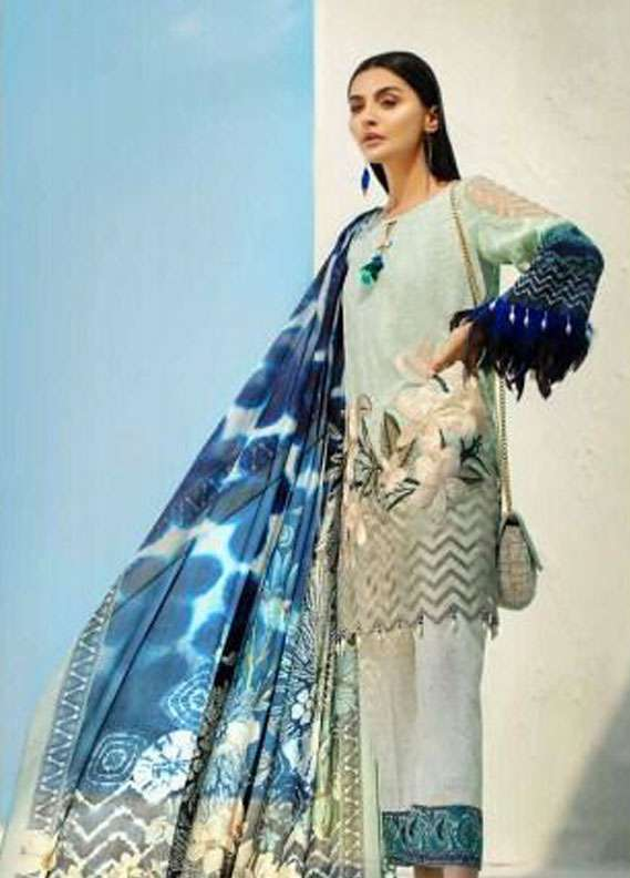 AUJ Embroidered Lawn Unstitched 3 Piece Suit AUJ18L 09 - Spring / Summer Collection