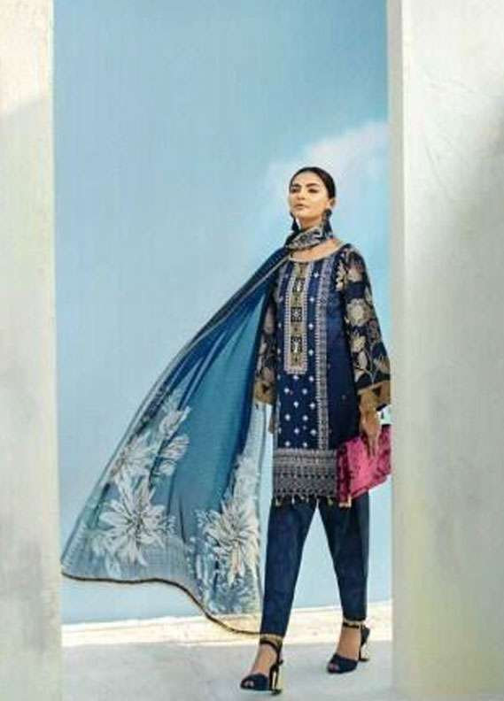 AUJ Embroidered Lawn Unstitched 3 Piece Suit AUJ18L 12 - Spring / Summer Collection