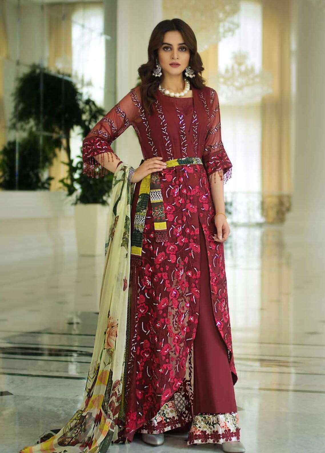 Ayesha Ibrahim by ZS Embroidered Chiffon Unstitched 3 Piece Suit AYI18C Gul - Luxury Collection