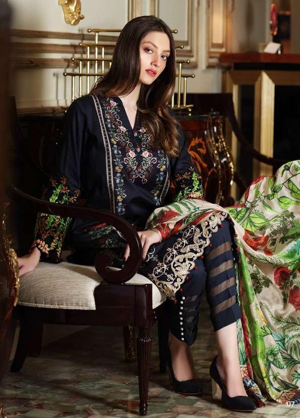 Al Zohaib Embroidered Lawn Unstitched 3 Piece Suit AZ17S 01