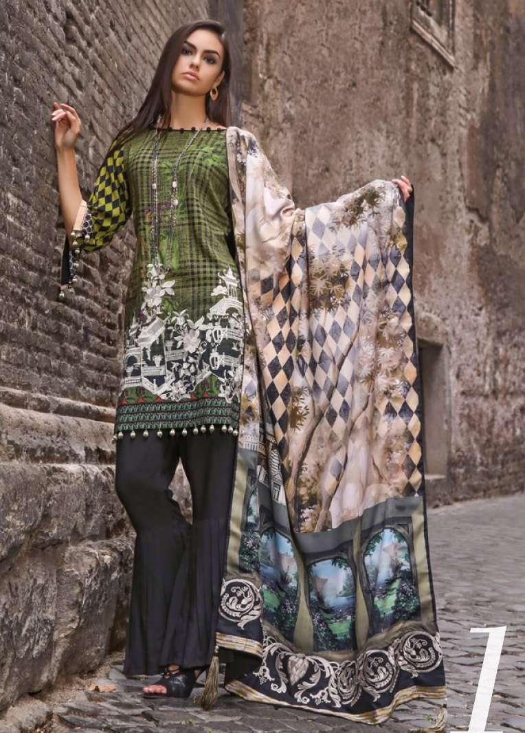 Al Zohaib Embroidered Linen Unstitched 3 Piece Suit AZ17W 01