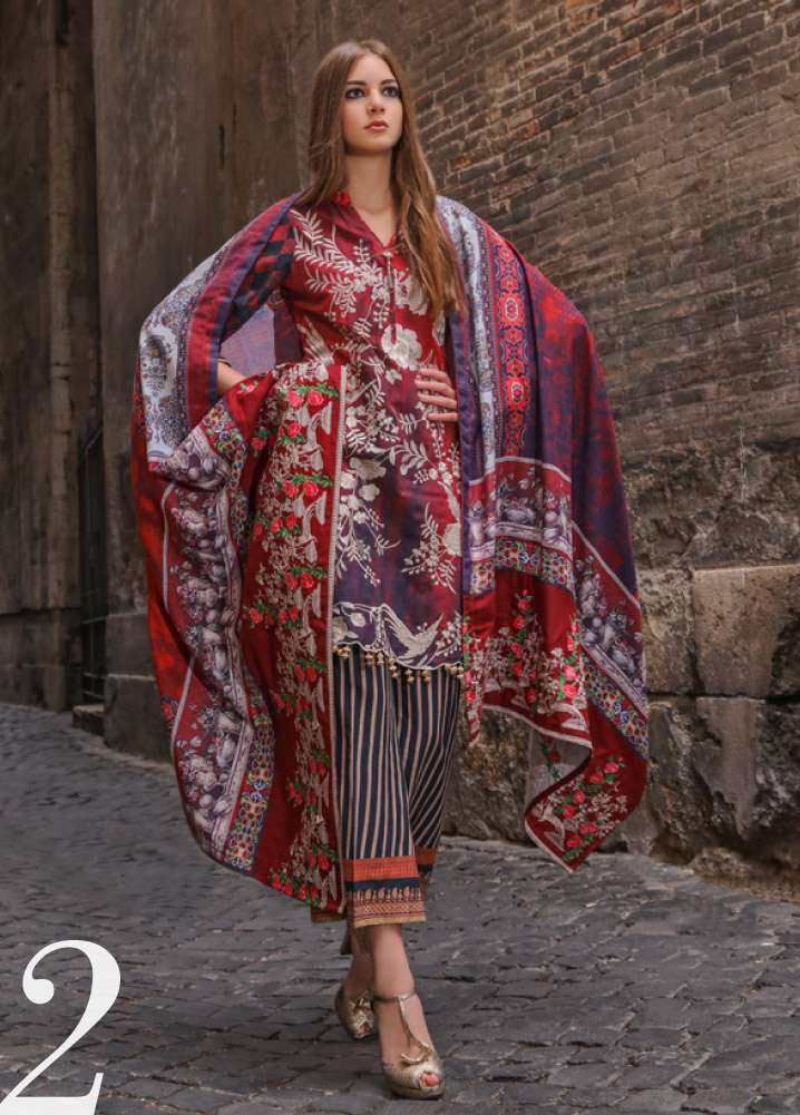 Al Zohaib Embroidered Linen Unstitched 3 Piece Suit AZ17W 02
