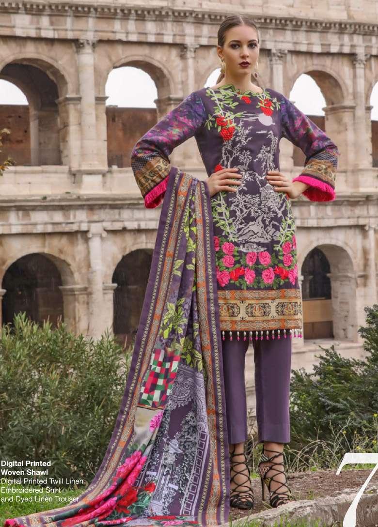 Al Zohaib Embroidered Linen Unstitched 3 Piece Suit AZ17W 07