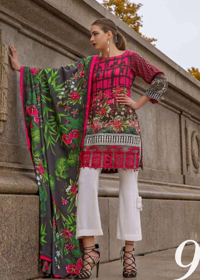 Al Zohaib Embroidered Linen Unstitched 3 Piece Suit AZ17W 09