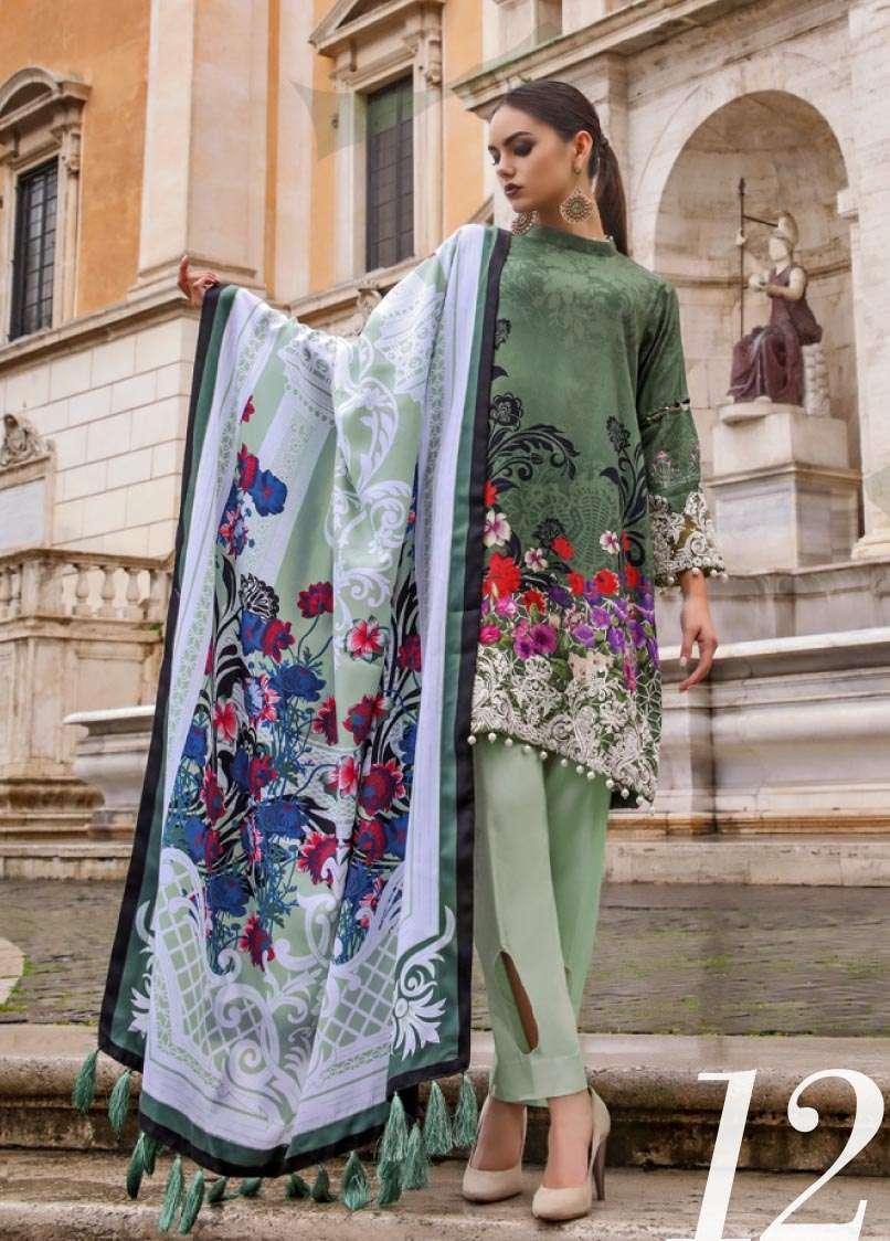 Al Zohaib Embroidered Linen Unstitched 3 Piece Suit AZ17W 12