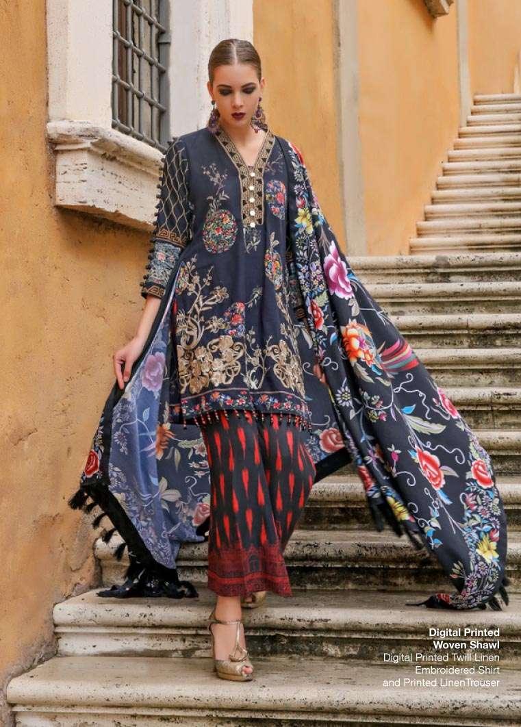 Al Zohaib Embroidered Linen Unstitched 3 Piece Suit AZ17W 13