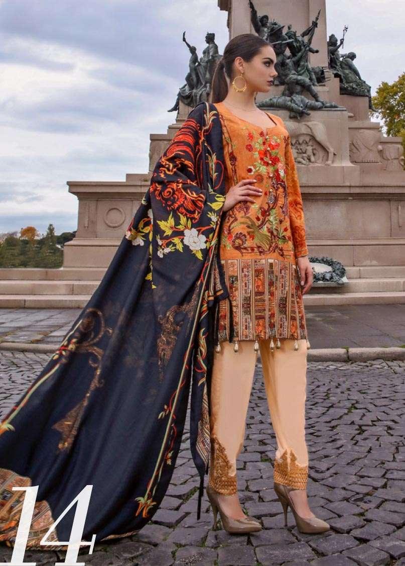 Al Zohaib Embroidered Linen Unstitched 3 Piece Suit AZ17W 14