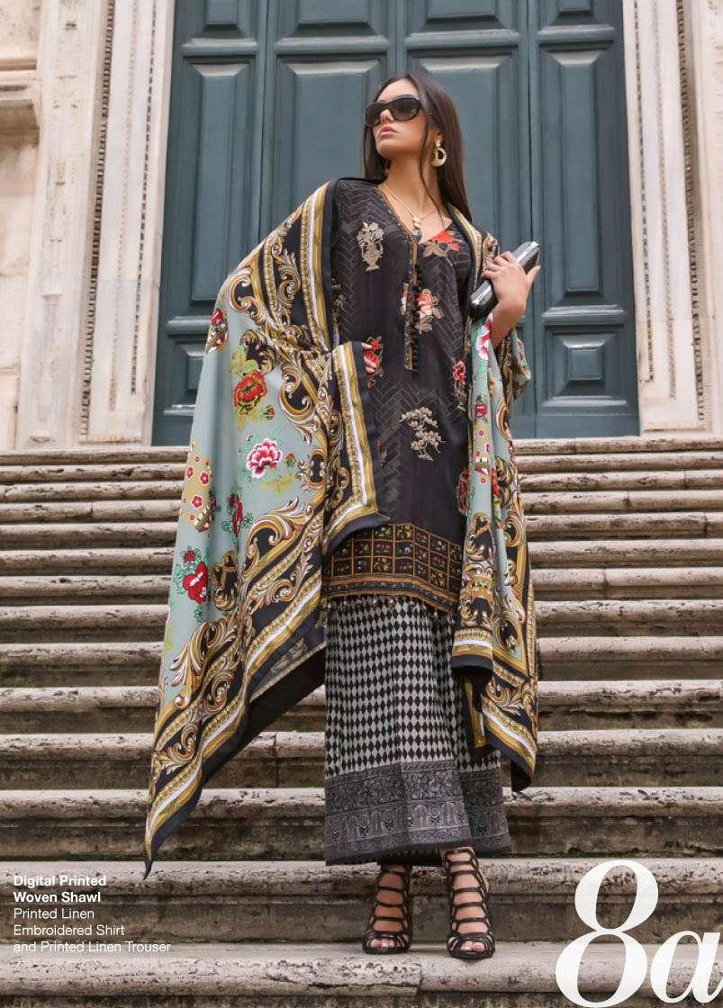 Al Zohaib Embroidered Linen Unstitched 3 Piece Suit AZ17W 8A