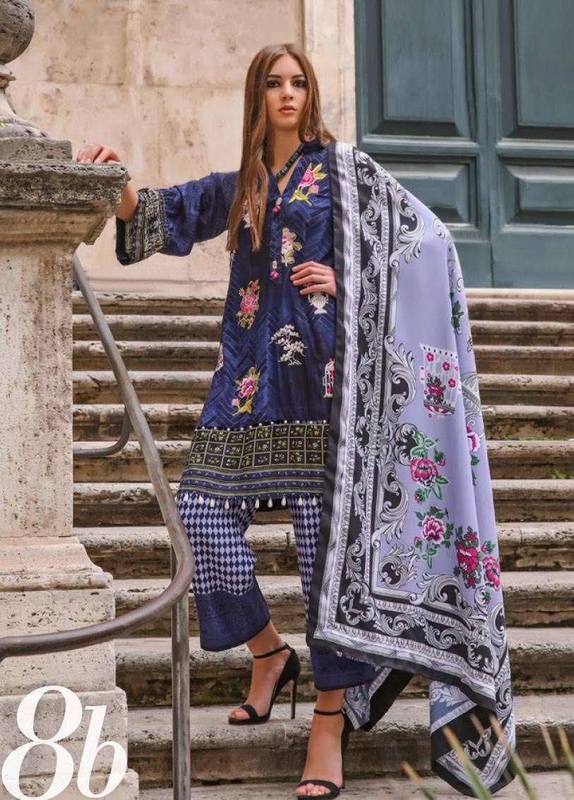 Al Zohaib Embroidered Linen Unstitched 3 Piece Suit AZ17W 8B