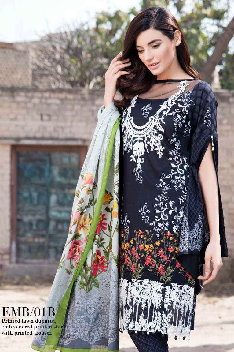 Al Zohaib Embroidered Lawn Unstitched 3 Piece Suit AZE17L 1B