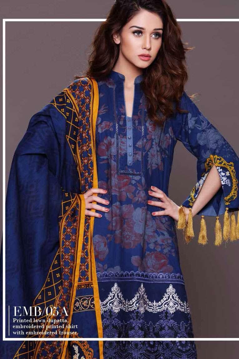 Al Zohaib Embroidered Lawn Unstitched 3 Piece Suit AZE17L 5A