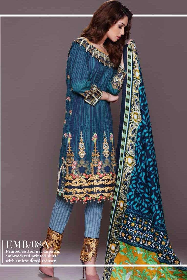Al Zohaib Embroidered Lawn Unstitched 3 Piece Suit AZE17L 8A