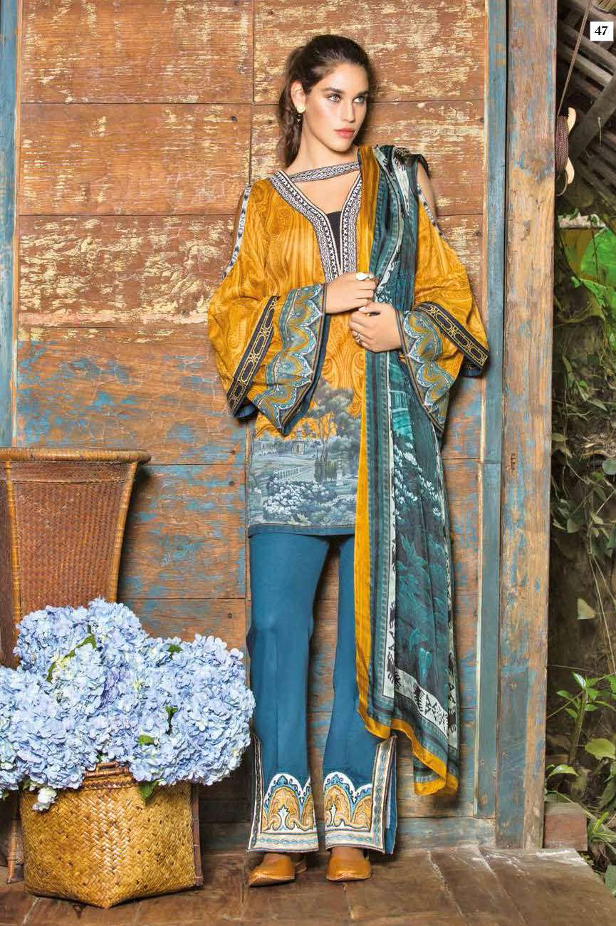 Mahgul by Al Zohaib Embroidered Lawn Unstitched 3 Piece Suit AZM17L 08