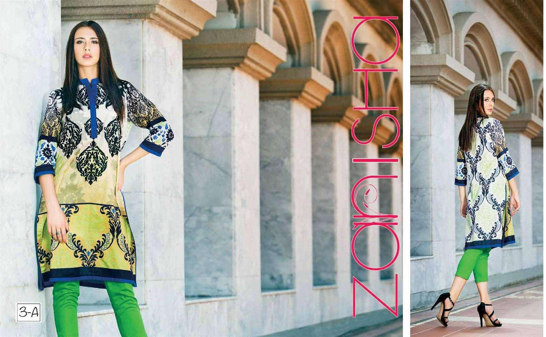 Zaneesha By Al Zohaib Embroidered Lawn Unstitched Kurtis AZN16S 3A