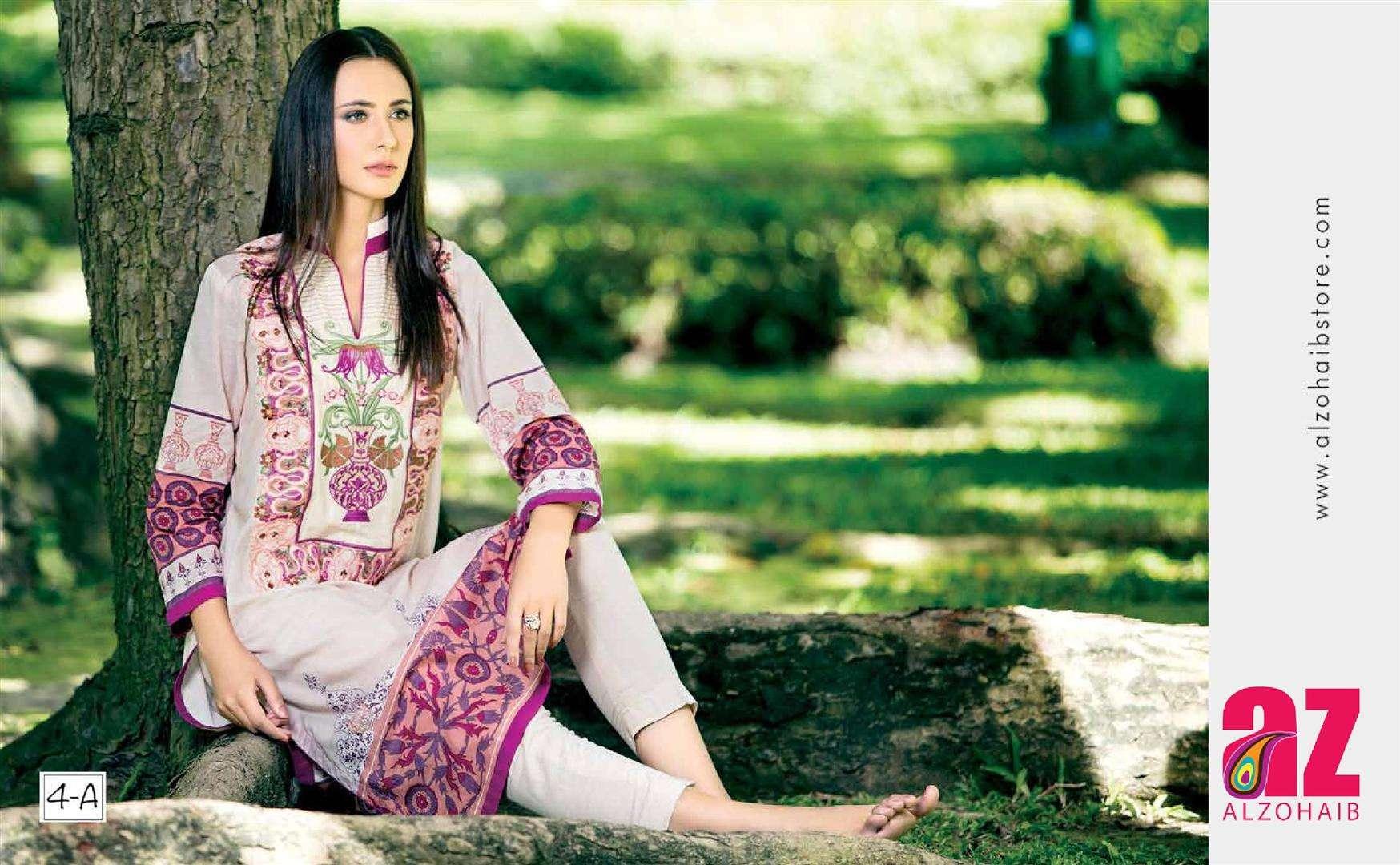 Zaneesha By Al Zohaib Embroidered Lawn Unstitched Kurtis AZN16S 4A