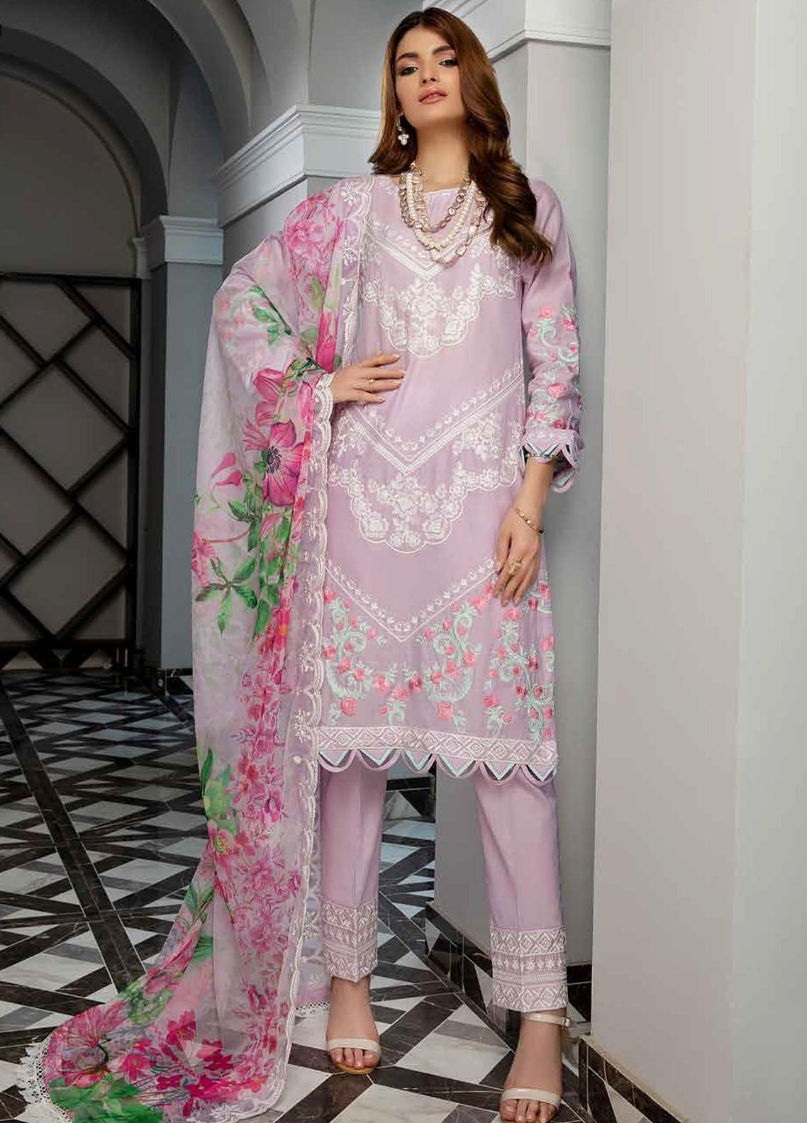 Azure Embroidered Cotton Jacquard Suits Unstitched 3 Piece AZU21CJ 02 Cotton Candy - Winter Collection